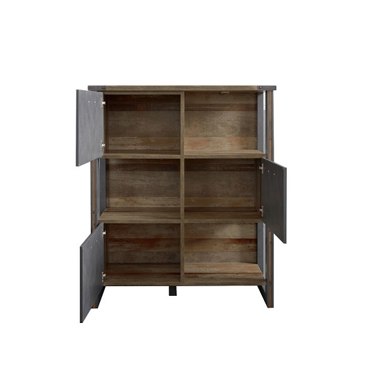Merano Wooden Shelving Unit In Old Wood And Matera Grey And LED_2