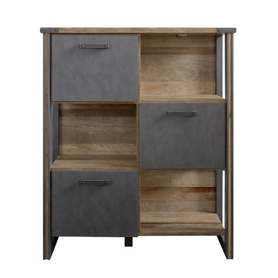 Merano Wooden Shelving Unit In Old Wood And Matera Grey And LED_3