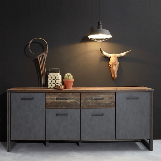 Merano Wooden Sideboard In Old Wood And Matera Grey With 4 Doors