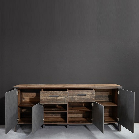 Merano Wooden Sideboard In Old Wood And Matera Grey With 4 Doors_2