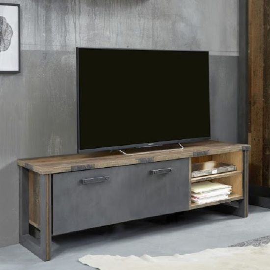 Merano Wooden TV Stand In Old Wood With Matera Grey And LED_1