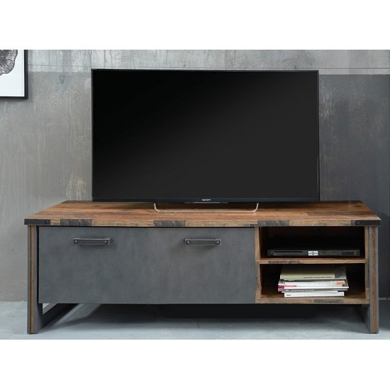 Merano Wooden TV Stand In Old Wood With Matera Grey And LED_2