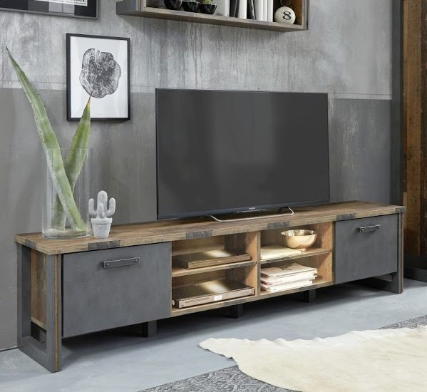 Merano Wooden TV Stand Wide In Old Wood With Matera Grey And LED