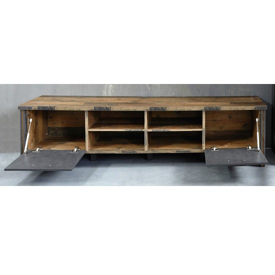 Merano Wooden TV Stand Wide In Old Wood With Matera Grey And LED_2
