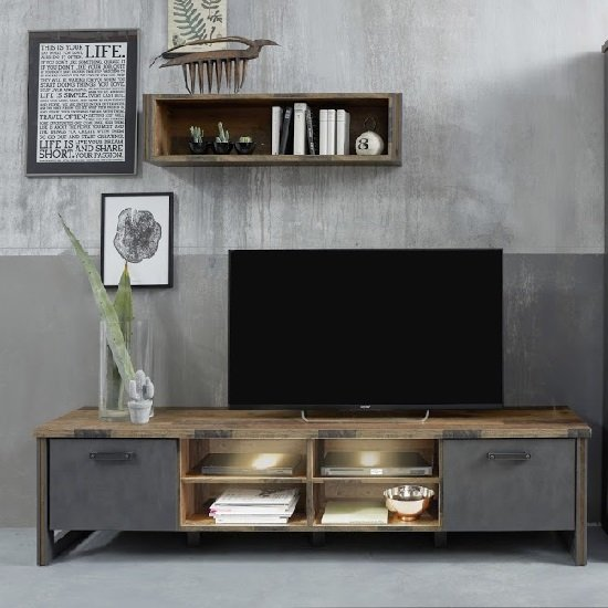Merano Wooden TV Stand Wide In Old Wood With Matera Grey And LED_3