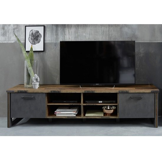 Merano Wooden TV Stand Wide In Old Wood With Matera Grey And LED_4