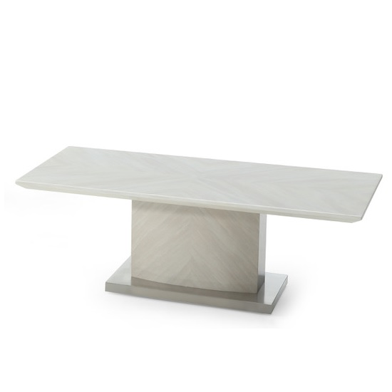 Mercer Marble Coffee Table In Ivory With High Gloss Base