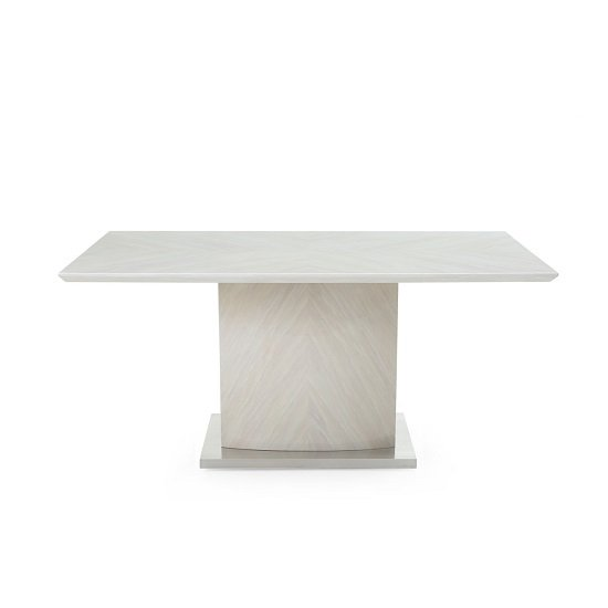 Mercer Marble Dining Table In Ivory With High Gloss Base