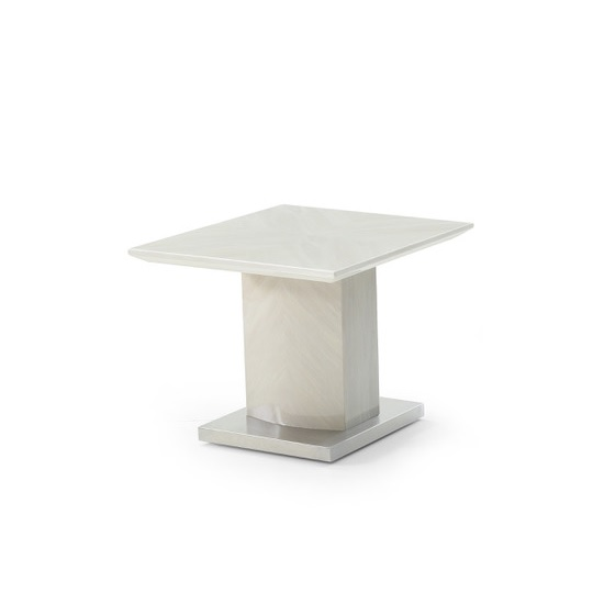 Mercer Marble End Table In Ivory With High Gloss Base