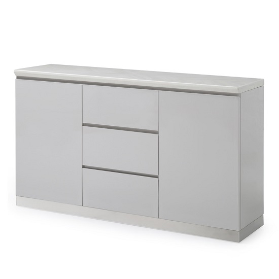 Mercer Marble Top Sideboard In Ivory And High Gloss