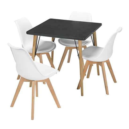 Mercer Wooden Bistro Dining Table In Black Faux Concrete_2