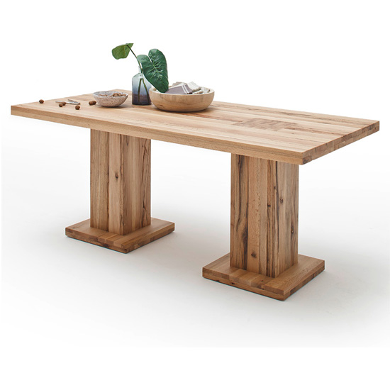 Mancinni 180cm Dining Table In Wild Oak With 2 Pedestals