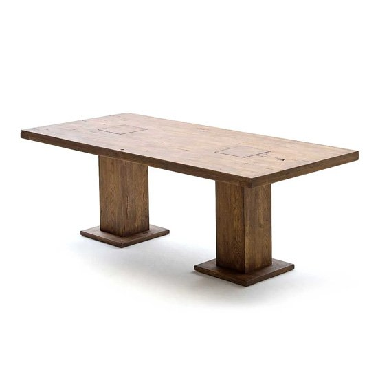 View Mancinni 260cm dining table in bassano oak with 2 pedestals
