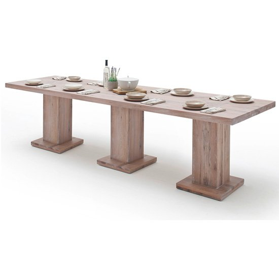 Mancinni 300cm Dining Table In Limed Oak With 3 Pedestals