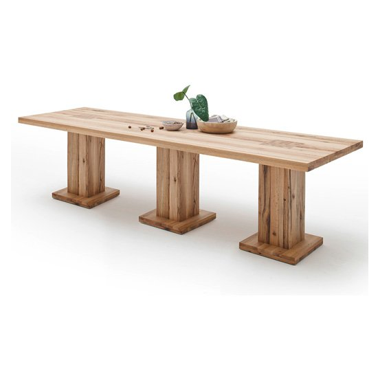 Mancinni 300cm Dining Table In Wild Oak With 3 Pedestals