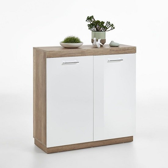 Mercia Compact Sideboard In Monument Oak And High Gloss White_1