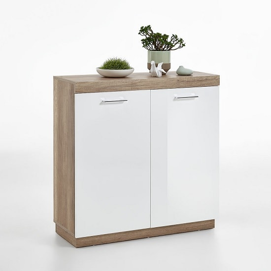 Mercia Compact Sideboard In Monument Oak And High Gloss White