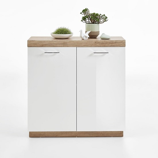 Mercia Compact Sideboard In Monument Oak And High Gloss White_3