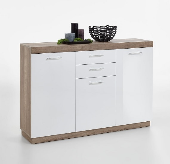 Mercia Wooden Sideboard In Monument Oak And High Gloss White