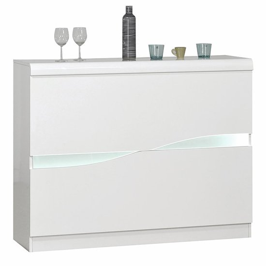 View Merida wooden bar cabinet in white high gloss