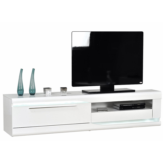 Merida Wooden TV Stand In White High Gloss With 2 Drawers