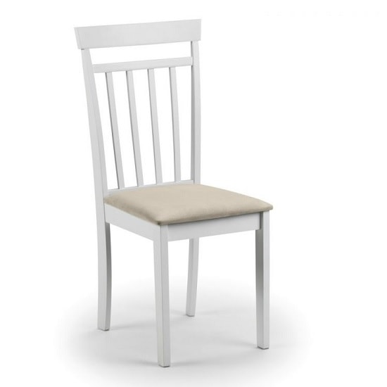 Meridian Wooden Dining Chair In White With Ivory Fabric Seat_1