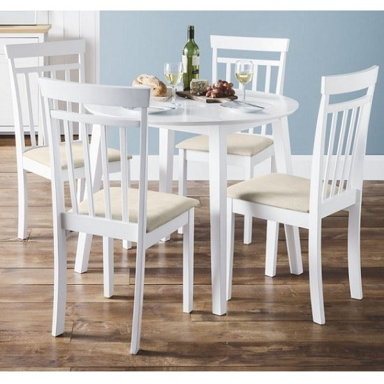 Meridian Wooden Dining Chair In White With Ivory Fabric Seat_2