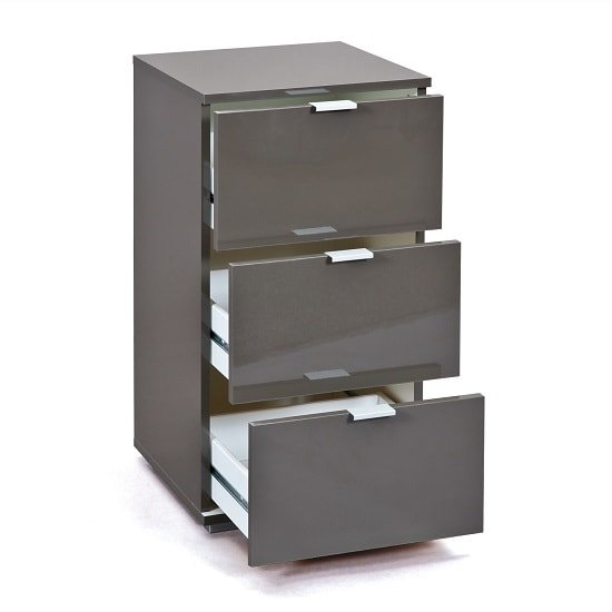 Meridian Bedside Cabinet In Grey High Gloss With 3 Drawers_2