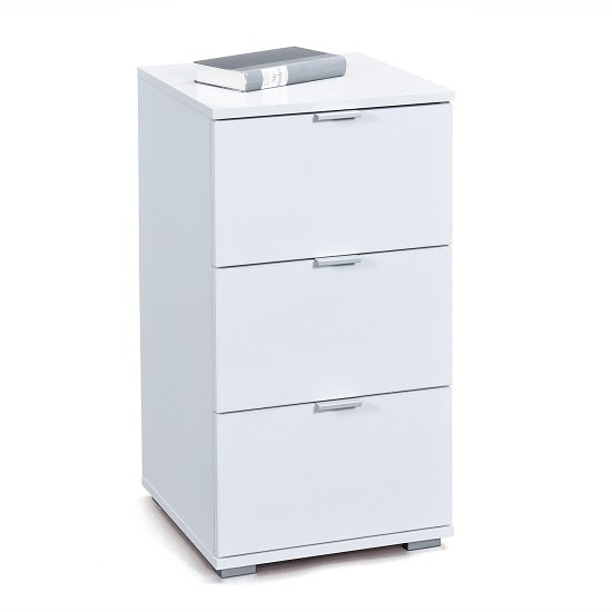 Meridian Bedside Cabinet In White High Gloss With 3 Drawers