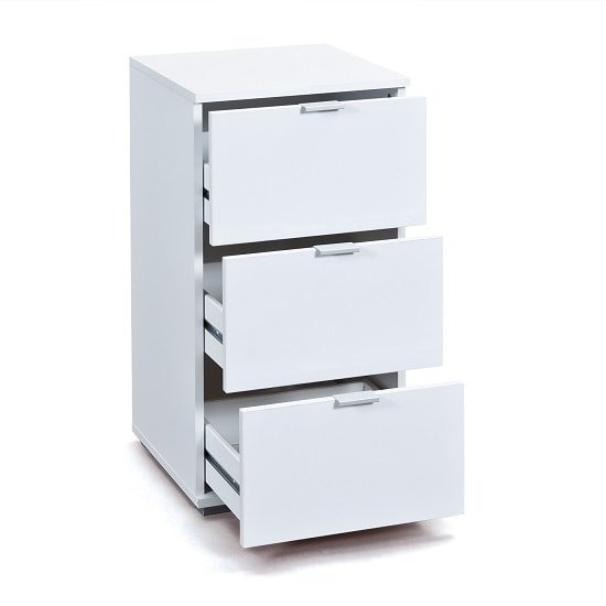 Meridian Bedside Cabinet In White High Gloss With 3 Drawers_2