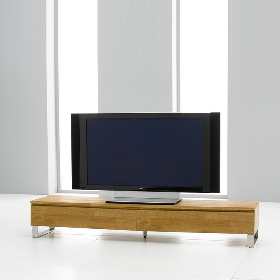 Meridian Wooden TV Stand Rectangular In Oak With Chrome Base