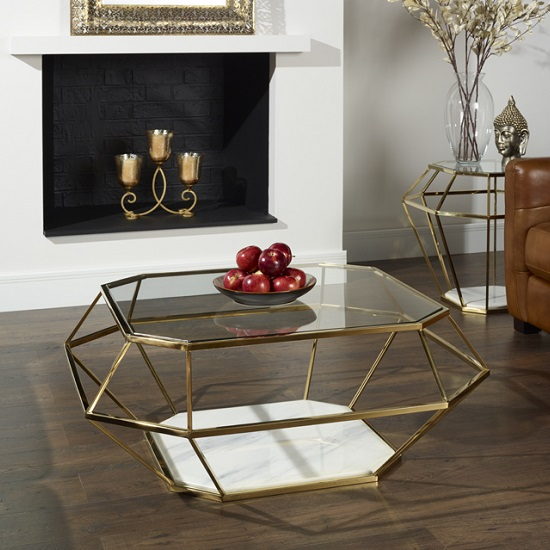 Photo of Merin glass coffee table in clear with gold frame