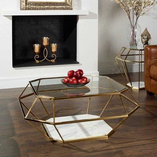 merin glass coffee table in clear with gold frame 30566. Black Bedroom Furniture Sets. Home Design Ideas