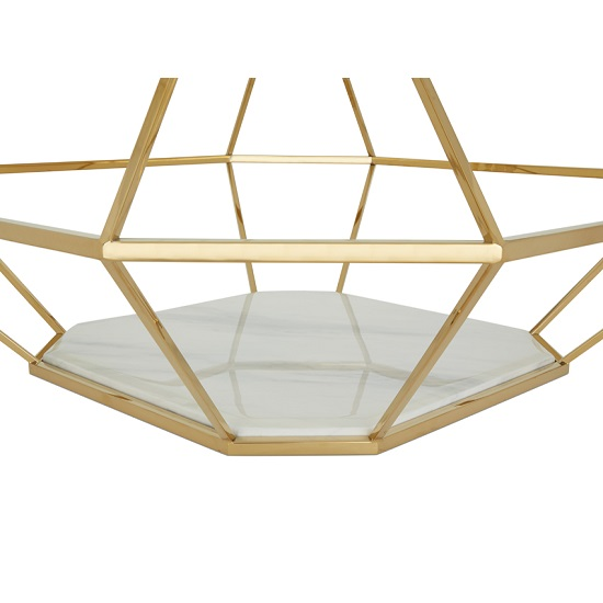 Merin Glass Coffee Table In Clear With Gold Frame 30566