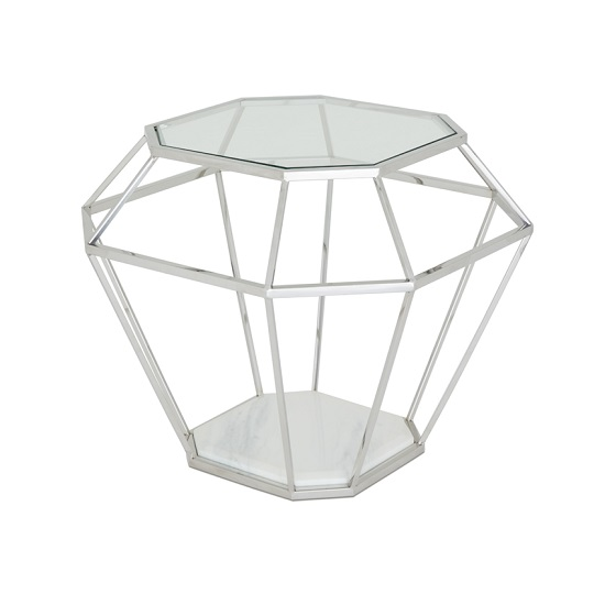 Merin Glass Lamp Table With Polished Stainless Steel Frame