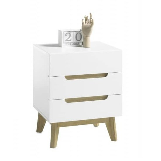 Merina Bedside Cabinet In Matt White And Oak With 3 Drawers