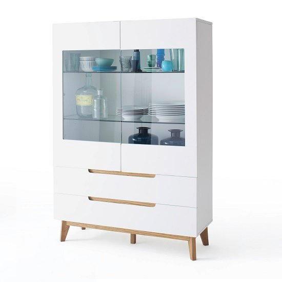 Merina Glass Display Cabinet In Matt White And Knotty Oak_1
