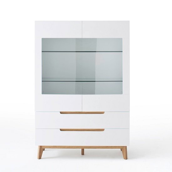 Merina Glass Display Cabinet In Matt White And Knotty Oak_3
