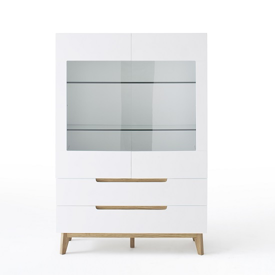 Knotty White Oak Cabinets: Merina Glass Display Cabinet In Matt White And Knotty Oak