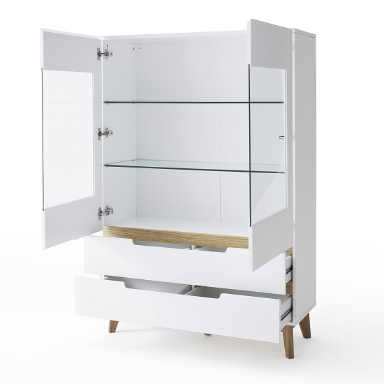 Knotted Oak Kitchen Cabinets: Merina Glass Display Cabinet In Matt White And Knotty Oak
