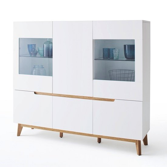 Merina Contemporary Highboard In Matt White And Knotty Oak