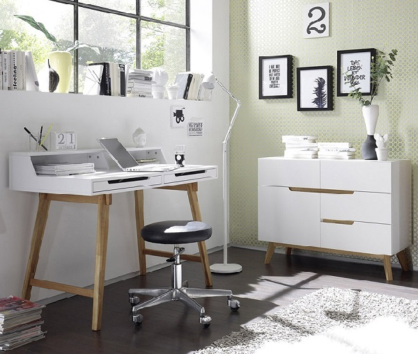 Merina Compact Sideboard In Matt White And Oak With 4 Drawers_7
