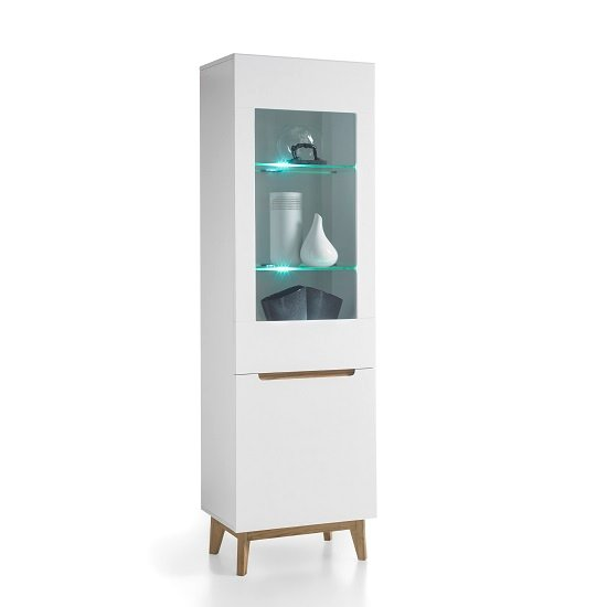 Merina Glass Left Display Cabinet In Matt White And Knotty Oak