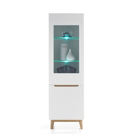 Merina Glass Right Display Cabinet In Matt White And Knotty Oak_1