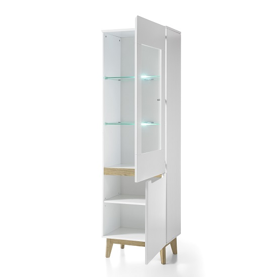 Merina Glass Right Display Cabinet In Matt White And Knotty Oak_2