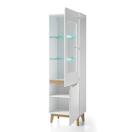 Knotty White Oak Cabinets: Merina Glass Right Display Cabinet In Matt White And