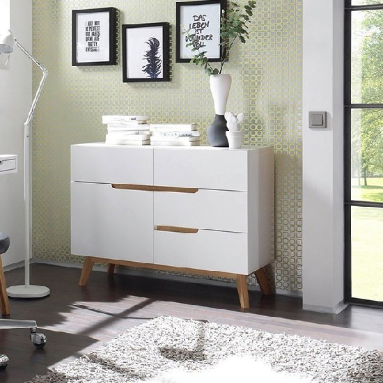 Merina Compact Sideboard In Matt White And Oak With 4