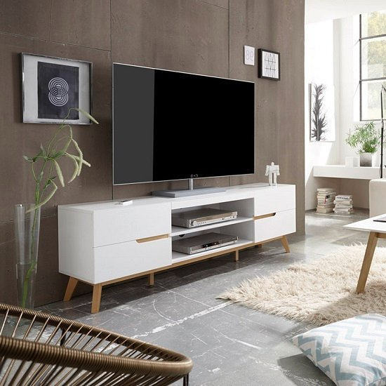Merina Lowboard TV Stand In Matt White And Oak With 4 Drawers_1