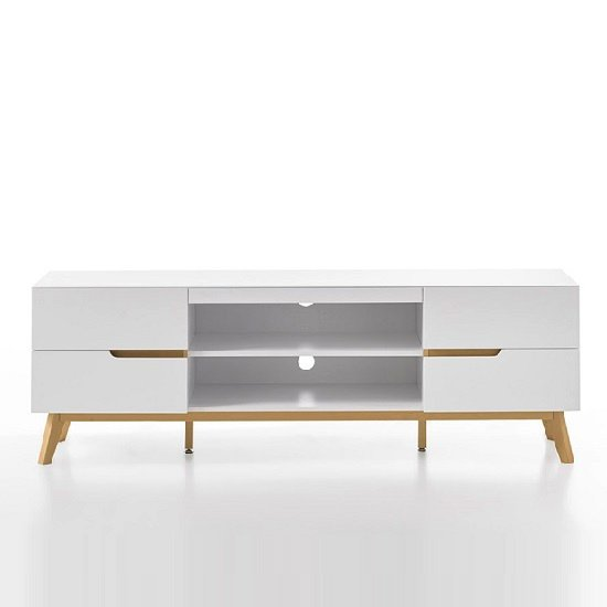 Merina Lowboard TV Stand In Matt White And Oak With 4 Drawers_5