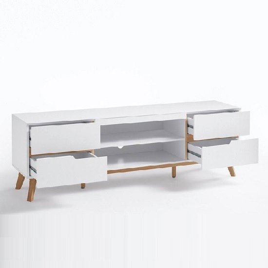 Merina Lowboard TV Stand In Matt White And Oak With 4 Drawers_3